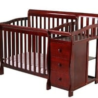 Dream On Me Jayden 4 in 1 Convertible Portable Crib with Changer, Cherry