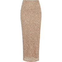 River Island Womens Gold sequin maxi skirt