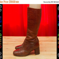 SALE Vintage 70s 80s Unbranded Brown Leather Gogo Mod Riding Knee High Boho Hippie Zip Up Riding Field Boots Women's Shoes 8.5N / Sz. 7