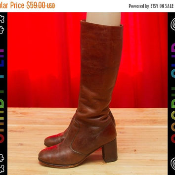 28093bb2e62 SALE Vintage 70s 80s Unbranded Brown Leather Gogo Mod Riding Kne. fall