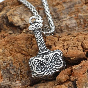 Viking 316L Stainless steel Mjolnir Thor Hammer Amulet Pendant Necklace