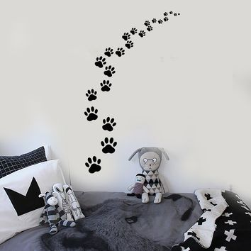 Vinyl Wall Decal Footprints Paws Animal Pet Cat Dog Stickers Unique Gift (ig3829)