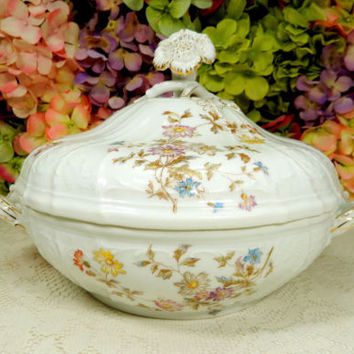Antique Haas & Czjzek Porcelain Covered Serving Bowl ~ Floral Flowers Embossed