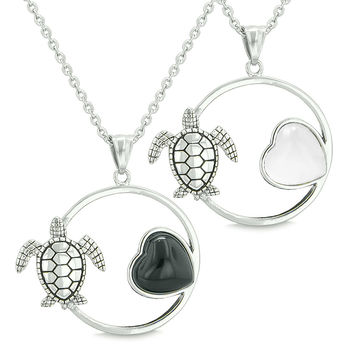 Amulets Cute Sea Turtles Love Couples Best Friends Simulated Black Onyx White Cats Eye Pendant Necklaces