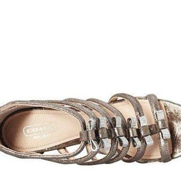Coach Women's Laila Feathered Grey Metallic Dusted Suede Sandal 9 M