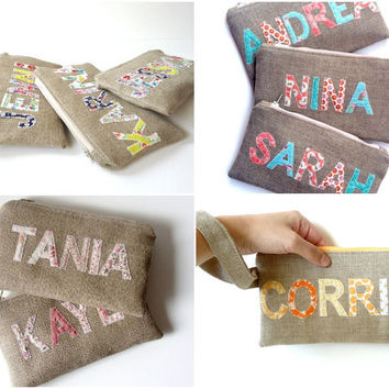 Personalized Burlap Clutch - Your Color Choice - Wedding Colors