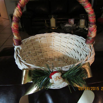 Vintage White Wicker Basket - Ribbon Wrapped Handle, Gold Bow - Pine Needles and Santa