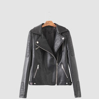 Black Notched Collar Zipper  Quilted Leather Jacket