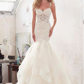 [218.99] Junoesque Tulle & Satin Spaghetti Straps See-through Mermaid Wedding Dresses With Lace Appliques - dressilyme.com