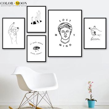 COLORMOON Minimalism Finger Avatar Wall Art Print Canvas Painting Nordic Black White Poster Wall Pictures For Living Room Decor
