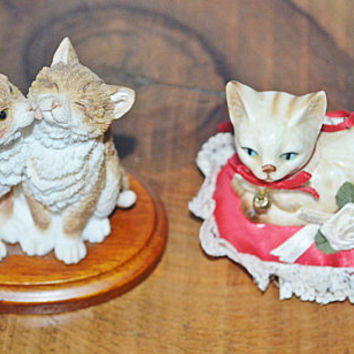 Kitten Ornaments, Cat Figurines, Stratford Collection Kittens Licking, Kurt S Adler Cat On Pillow