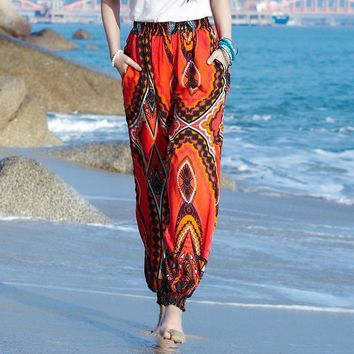 Women beach boho pants high waist bohemia bloomers red pant casual printed loose trousers y393