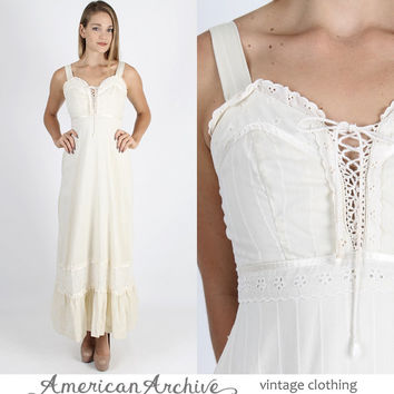 Gunne Sax Dress Prairie Dress Boho Dress Boho Wedding Dress Lace Dress Vintage 70s Boho Wedding Eyelet Floral Lace Prairie Corset Maxi