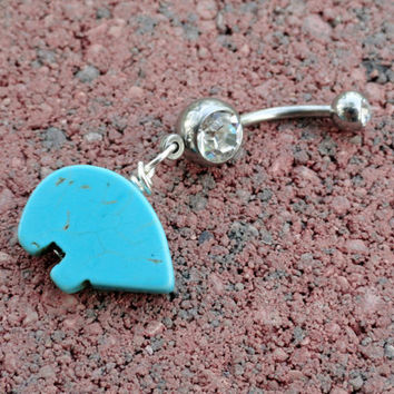 Turquoise Zuni Bear Belly Button Jewelry Belly by MidnightsMojo