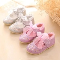 Baby Kids Girl Princess Shoes Children Lace Diamonds Leather Dancing Party Shoes
