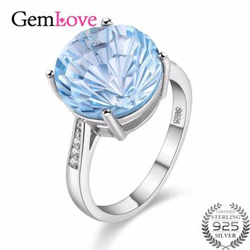 Blue Topaz 6.5 ct Natural Gemstone Ring 925 Sterling Silver Costume Jewelry Rings for Women