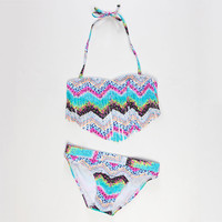 Roxy Sea Hippie Fringe Bandeau Girls Bikini Multi  In Sizes