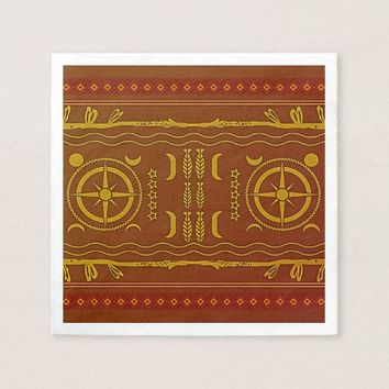 Golden Brown African Symbols Pattern Paper Napkins
