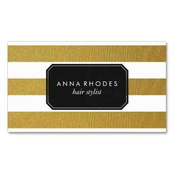 Classy Gold Stripes Business Card
