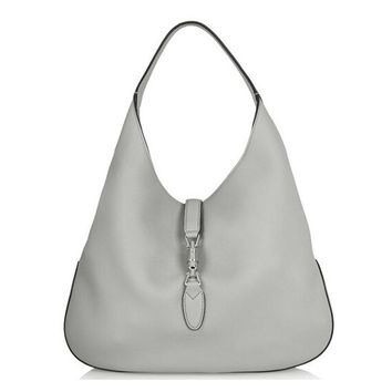 Gucci Jackie Grand Prix Soft Pebbled Rocky Gray Leather Hobo Bag 362968