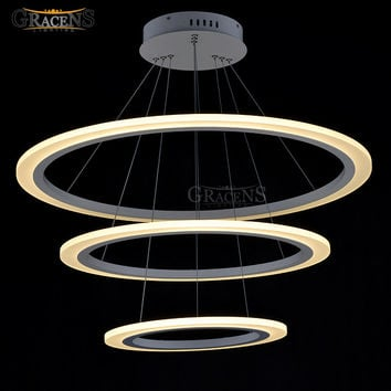 Modern Led Chandelier Light Fixture Led Acrylic Hanging Lamp Led White Suspension Lamp Stair Lights Fast Shipping