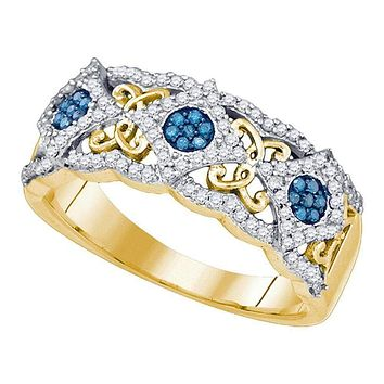 10kt Yellow Gold Women's Round Blue Color Enhanced Diamond Cluster Filigree Band 3/8 Cttw - FREE Shipping (US/CAN)
