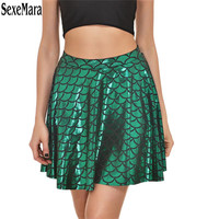Skirt Digital Printing Fish Scale Sexy Skirt Black Female Skirt Mermaid Fashion Gift Polyester 3D Printing Fishtail Skirt 9DW228
