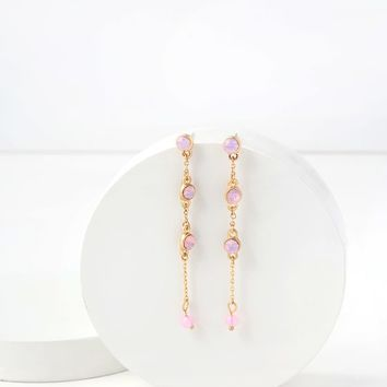 Always Dreaming Gold and Pink Rhinestone Earrings