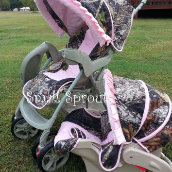 Mossy Oak Breakup/ Light  PinkMinky Dot/Pink Buckmark Stroller Cover