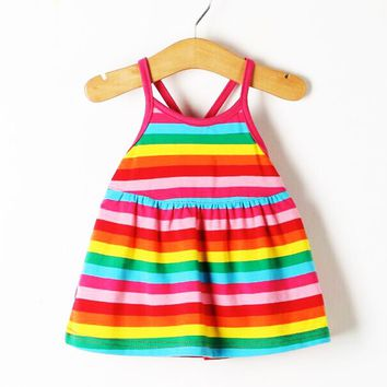 2017 new fashion quality cotton dress rainbow fringe Princess Dress cute baby baby sleeveless low price cool summer
