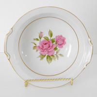Narumi Japan Sharon Pattern Pink Rose Bowl Gold Rimmed Servingware
