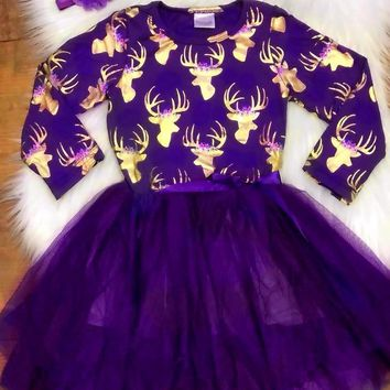 Fall/ winter girls cotton party purple gold reindeer dress girls party dress yarn with matching headband