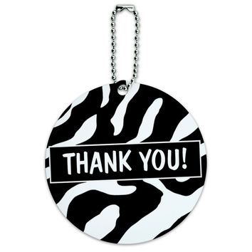 Thank You Zebra Print Birthday Bridal Wedding Shower Round ID Card Luggage Tag