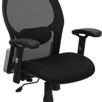 High Back Black Super Mesh Executive Swivel Office Chair with Mesh Padded Seat
