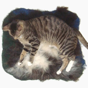 Llama Cat Bed Cruelty Free Felted Fleece Rug - Black and White on Blue Green - Supporting Small US Farms