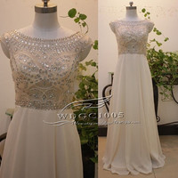 Champagne crystal chiffon prom dress long bead formal evening dress beach party dress bridesmaid dress short backless sequin Homecoming gown