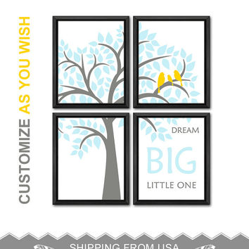 baby blue and yellow playroom decor dream big baby wall decor nursery gift ideas with birds in a tree nursery wall saying baby room decor