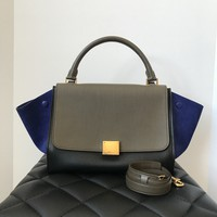 Celine Small Trapeze in Smooth black and taupe leather and blue suede wings