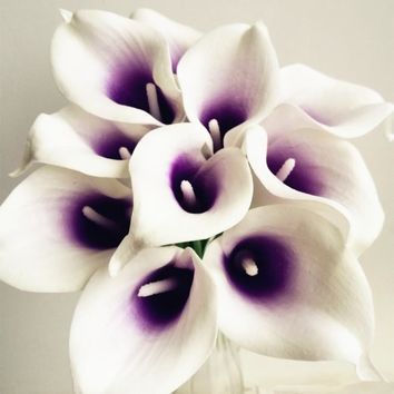30pcs Callas Artificial Calla lily Blue Heart/ Purple Heart Calla Lilies Flower for Wedding Bridal Bouquet Decorative Flowers