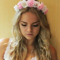 sweet dreams pastel floral festival headpiece headband from fieldsofash