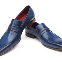 Paul Parkman Men's Loafer Shoes Navy&Blue Leather Upper and Leather Sole