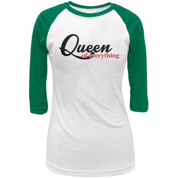 Queen Of Everything White/Kelly Green Juniors 3/4 Raglan T-Shirt