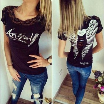 DCCKBA7 Angel wings Lace T-shirt printing