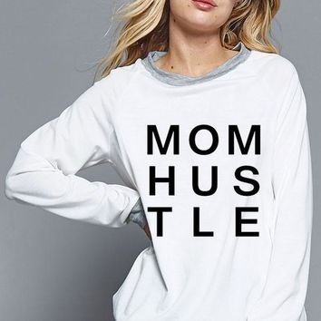"""""""Mom Hustle"""" graphic sweatshirt with contract bands and cuffs - Off White"""