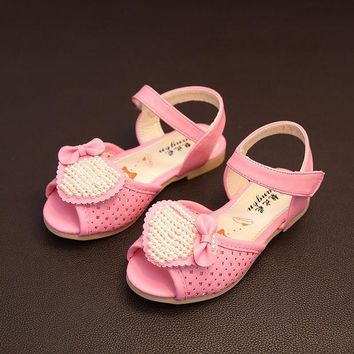 PEAPIX3 Design Summer Stylish Pearls Children Velcro Sandals [4919312516]