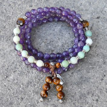 Healing, 108  Mala Bead Amethyst, Tiger's Eye and Amazonite Wrap Bracelet Or Necklace