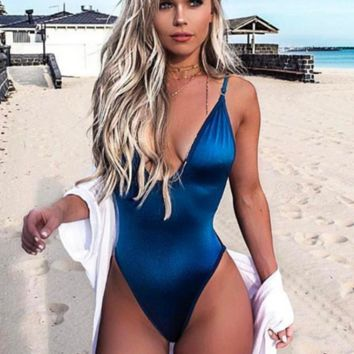 Summer New Fashion Solid Color Straps One Piece Bikini Swimsuit Blue