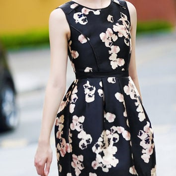 Black Floral Print Sleeveless Princess Flare Dress