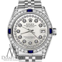 Rolex 36mm Datejust SS Silver Dial with Sapphire & Diamond Bezel Accent Watch