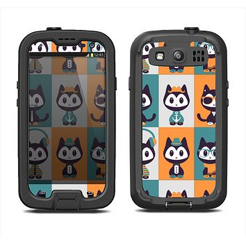 The Retro Cats with Accessories Samsung Galaxy S3 LifeProof Fre Case Skin Set